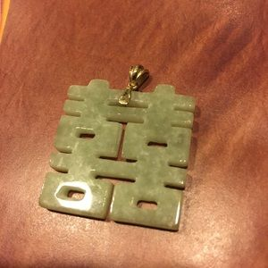 💠 Vintage 10k gold carved Jade chinese pendant